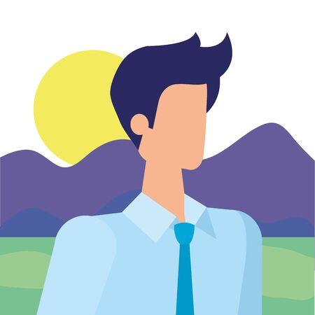 elegant businessman worker in the camp vector illustration design Ilustracja