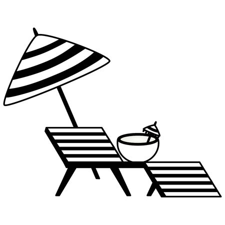 summer time holiday deck chair coconut umbrella  vector illustration