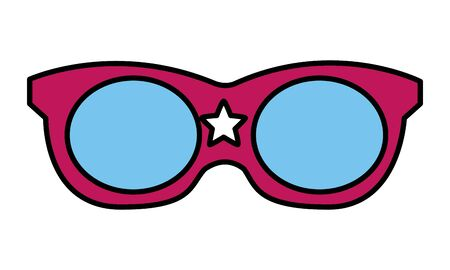 red sunglasses with star on white background vector illustration 向量圖像