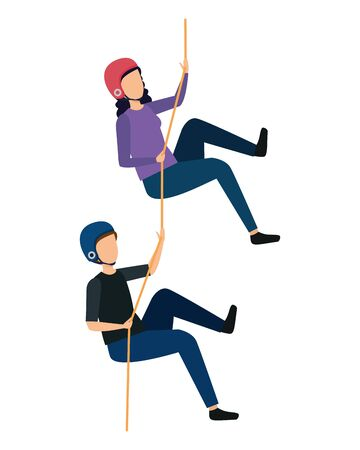 young couple climbing with ropes characters vector illustration design Banco de Imagens - 129665620