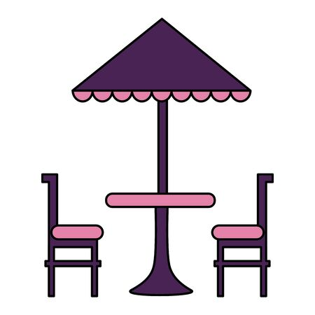 umbrella table and chair furniture vector illustration 向量圖像