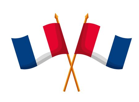 crossed flags of france happy bastille day flat design vector illustration 向量圖像