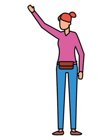 woman character standing female on white background vector illustration Foto de archivo - 129665880