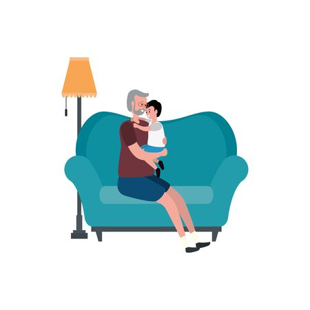 cute grandfather with grandson in the sofa vector illustration design
