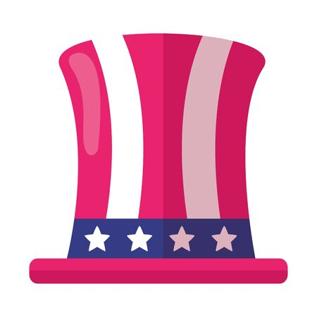 top hat with american flag independence day vector illustration