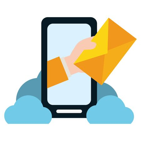 Mano con sobre smartphone computación en la nube enviar correo electrónico ilustración vectorial