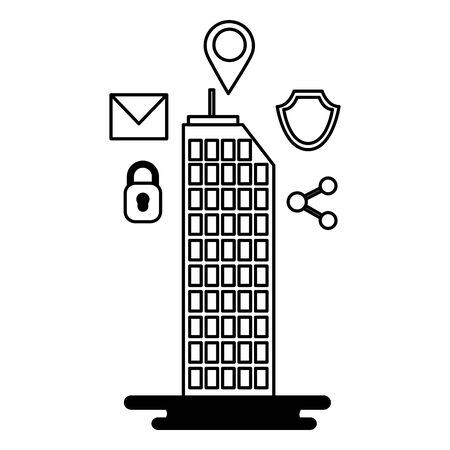 smart city building security share mail location vector illustration Illustration