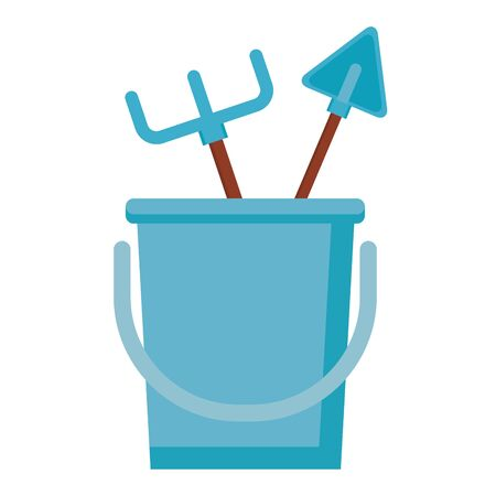 bucket rake shovel tools gardening flat design vector illustration Ilustracja