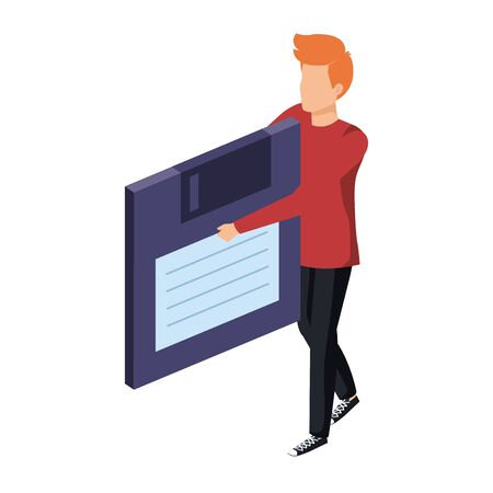 young man lifting floppy disk data storage vector illustration design Ilustração