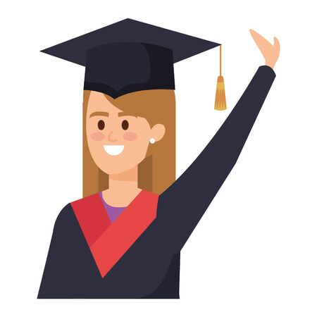 young woman student graduated celebrating vector illustration design Illusztráció