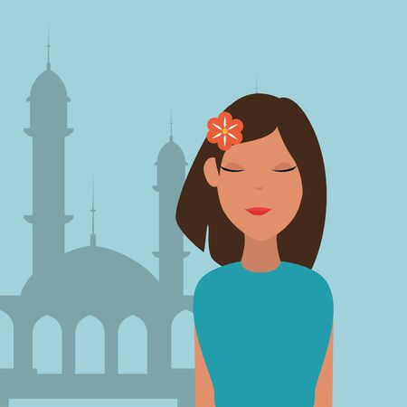 islamic woman with mosque building vector illustration design Banque d'images - 129712225