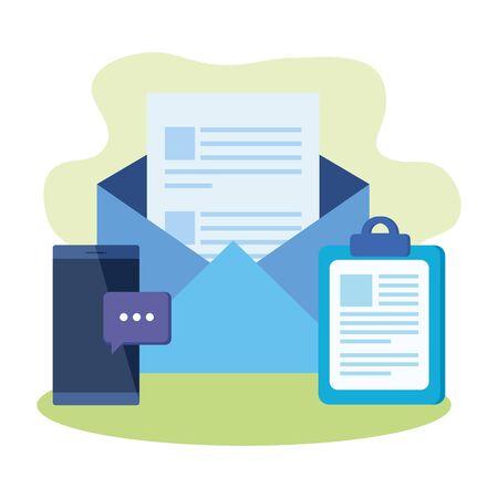 checklist clipboard with envelope mail vector illustration design Illustration