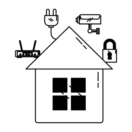 smart home security router wifi internet connection vector illustration Foto de archivo - 129712246