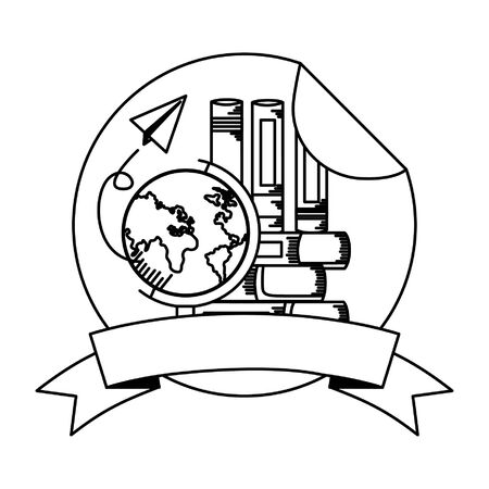 books globe school paper plane supplies teacher day sticker vector illustration