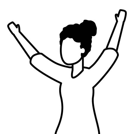 celebrating woman with arms up vector illustration