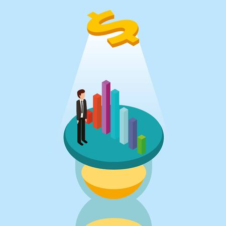 Money and businessman design, Financial item commerce market payment invest buy and economy theme Vector illustration