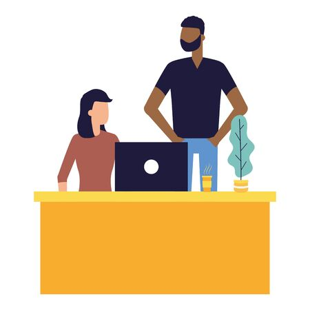man and woman working office talking bubble vector illustration Ilustração