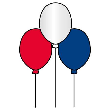 Decoración de globos feliz día de la bastilla diseño plano ilustración vectorial Ilustración de vector