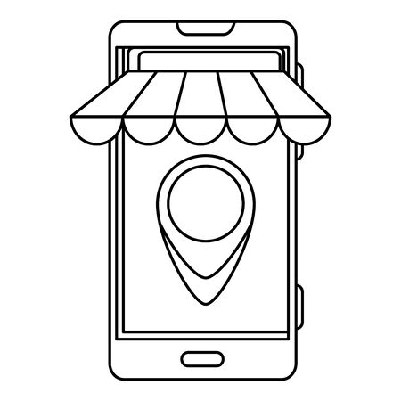smartphone with parasol and delivery application vector illustration design