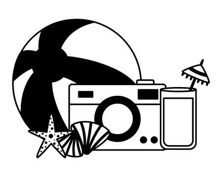 summer time holiday beachball camera cocktail starfish seashell vector illustration