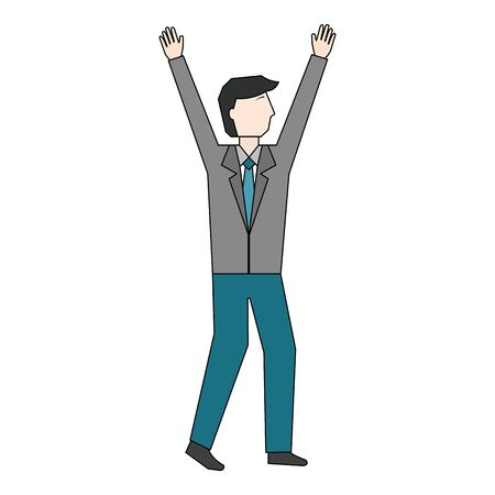 businessman with hands up avatar character vector illustration design