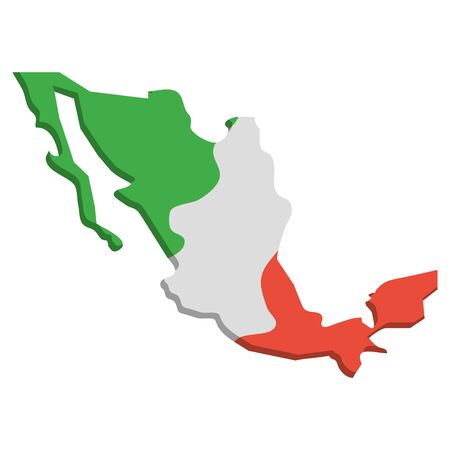 mexico map geography isolated icon vector illustration design