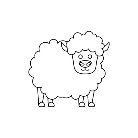 cute little sheep animal farm vector illustration design
