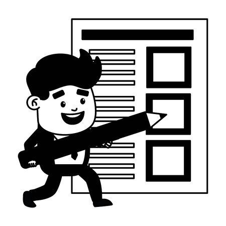 businessman tax payment form pencil vector illustration