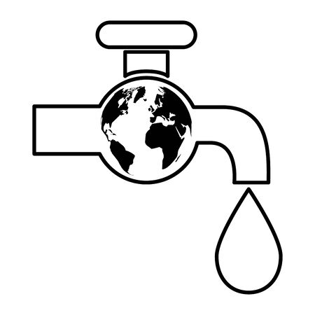 faucet drop water world eco friendly environment vector illustration