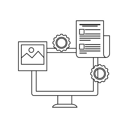 desktop computer with gears settings vector illustration design