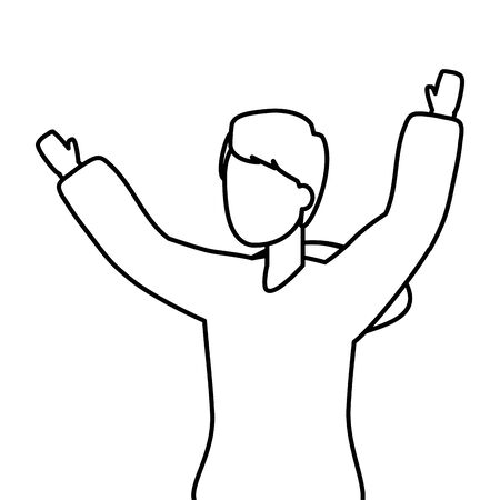 happy man celebrating arms up vector illustration