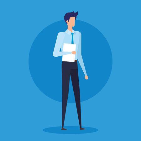 professioneller Geschäftsmann mit eleganter Kleidung und Dokumenten auf blauem Hintergrund, Vektorillustration