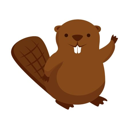 cute beaver mascot animal icon vector illustration design