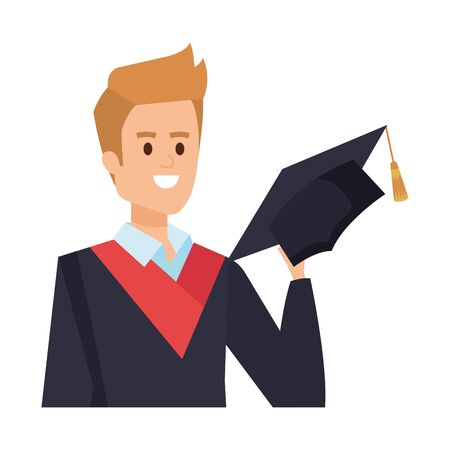 young man student graduated with hat vector illustration design Illusztráció