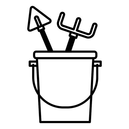 bucket rake shovel tools gardening flat design vector illustration Illustration