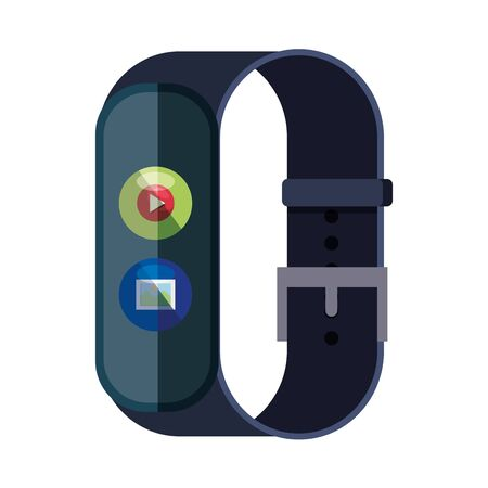 smartwatch with media player button and picture file vector illustration design Çizim
