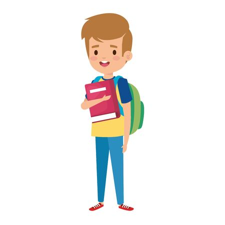 happy student boy with schoolbag and books vector illustration design