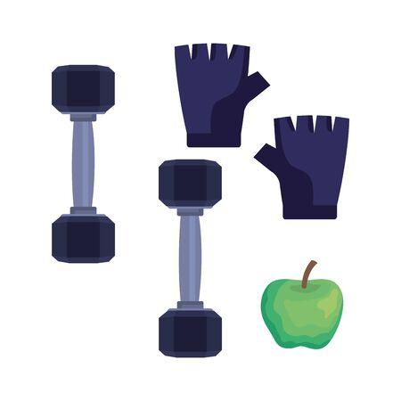 set of dumbbells with gloves and apple fruit over white background, vector illustration Illustration