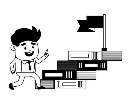 businessman books ladder flag success vector illustration