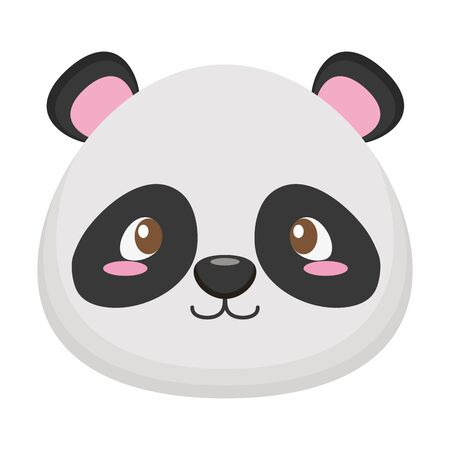 cute little bear panda baby head character vector illustration design