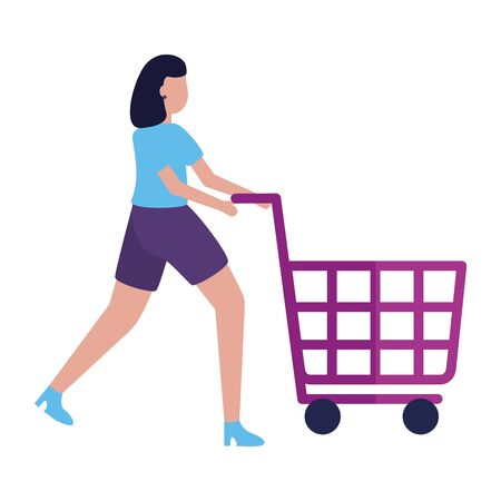 woman shopping cart commerce market vector illustration