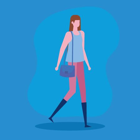 woman with casual clothes and hairstyle and purse over blue background, vector illustration