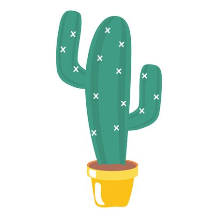 mexican cactus in pot icon vector illustration design