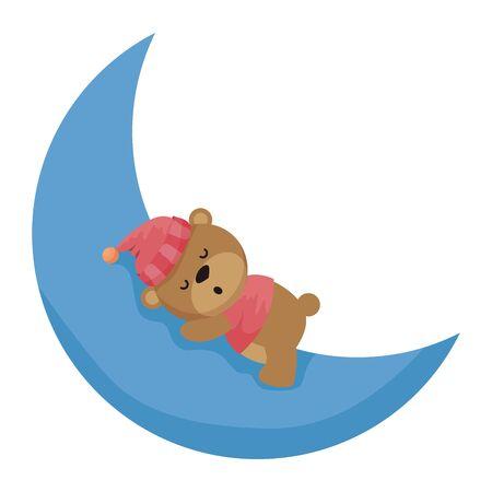 little bear teddy with hat sleeping in moon vector illustration design