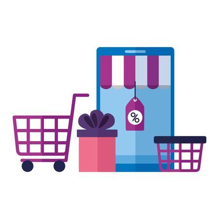 Compras en línea ecommerce smartphone carrito cesta regalo ilustración vectorial
