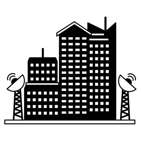 smart city buldings antenna communication technology vector illustration 向量圖像