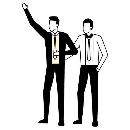 business men avatar character on white background vector illustration Çizim