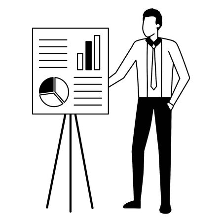 businessman presentation board strategy business work vector illustration Çizim