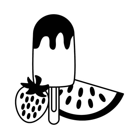 summer time holiday   ice cream watermelon and strawberry vector illustration  イラスト・ベクター素材