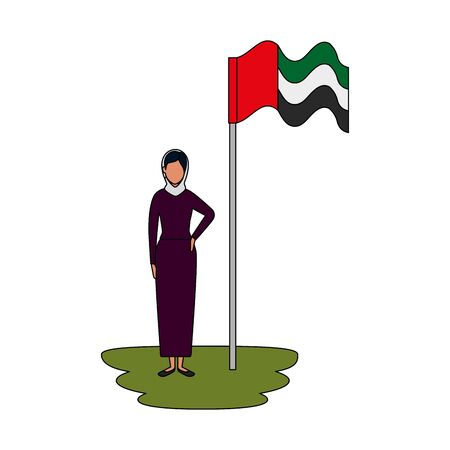 islamic woman with traditional burka and arabia flag in pole vector illustration design